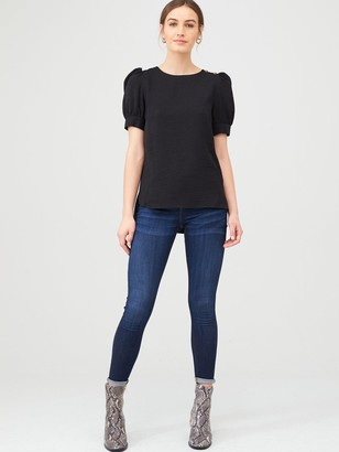 Very Button Ruched ShortSleeve Shell Top - Black