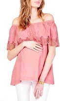 Ingrid & Isabel Women's Lace Off The Shoulder Maternity Top