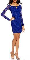 Jump Keyhole-Neck Long Sleeve Lace Sheath Dress