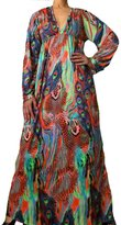 Angela Fashion Long Sleeve Paisley Print Holiday Summer Beach Pool Maxi Dress