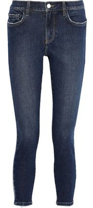 Current/Elliott The Stiletto Cropped Frayed Mid-rise Skinny Jeans