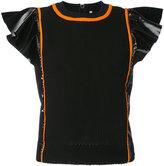 NO KA 'OI No Ka' Oi - Manu frill sleeve sports top - women - Nylon/Polyester/Polyurethane/Spandex/Elastane - XS