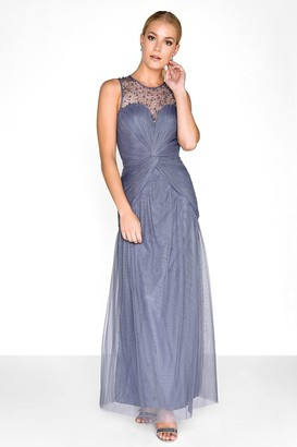 Little Mistress Grey Knot Waist Maxi Dress