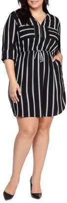 Dex Plus Striped Mini Dress