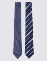 Marks and Spencer 2 Pack Striped Tie