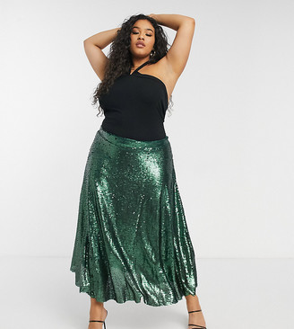Native Youth Plus a-line midi skirt in green sequin