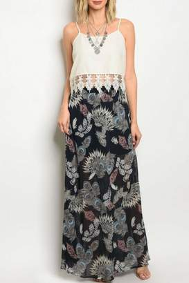 Peach Love California Feather Print Skirt