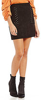 Sugar Lips Sugarlips Faux Suede Studded Skirt