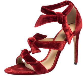 Alexandre Birman Red Velvet Gianna Three Bow Ankle Wrap Sandals Size 38