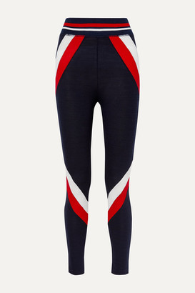 WE NORWEGIANS Voss Paneled Stretch-merino Wool Leggings - Navy