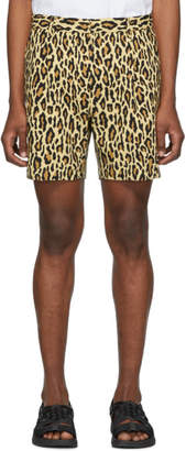 Wacko Maria Beige Leopard Pleated Shorts