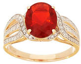 QVC Red Fire Opal and Diamond Ring, 1.35 cttw, 14K