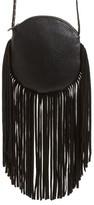 Street Level Fringe Faux Leather Round Crossbody Bag - Black