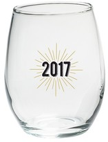 Kate Aspen Set of 4) New Years 2017 15 oz. Stemless Wine Glass