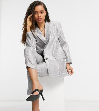 ASOS DESIGN Petite moire suit blazer in metallic