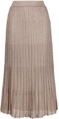 Fabiana Filippi Metallic Pleated Midi Skirt