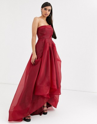 Bariano full maxi dress with organza bust detail in wine red