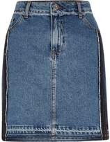 River Island Womens Mid authentic blue frayed denim skirt