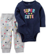 Carter's 2-Pc. Cotton Super Cute Bodysuit and Pants Set, Baby Girls (0-24 months)
