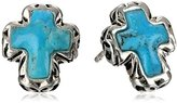 "Barse Silhouette"" Sterling Silver Turquoise Post Cross Earrings"
