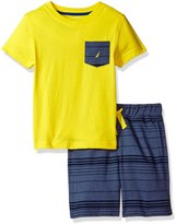Nautica Little Boys' Two Piece Set with V-Neck Tee with Knit Short