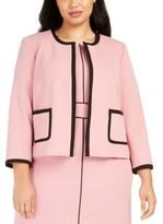 Nine West Plus Size Crepe Jewel-Neck Jacket