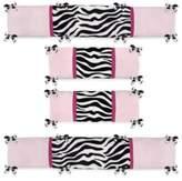 JoJo Designs Sweet Funky Zebra 4-Piece Crib Bumper Set in Pink