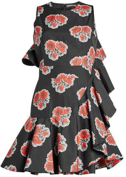 Alexander McQueen Printed Cotton Ruffle Dress