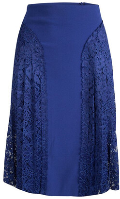 Joseph Cobalt Blue Pleated Lace Detail Courtney Skirt M