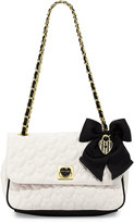 Betsey Johnson Be Mine Quilted Shoulder Bag, Bone/Black