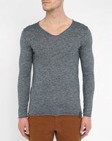 Eleven Paris Mottled-Grey Rucien Grandad Collar Sweater