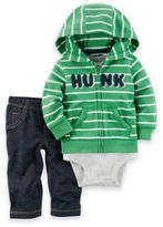 Carter's 3-Piece Hunk Little Jacket, Bodysuit, and Pant Set in Green/White