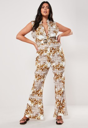 Missguided Plus Size White Printed Plunge Front Jumpsuit