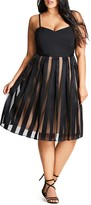 City Chic Pleated Stripe Skirt Dress