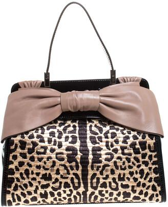 Valentino Black Leopard Print Raffia Patent Leather Aphrodite Bow Top Handle Bag