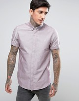 Fred Perry Short Sleeve Oxford Shirt In Red