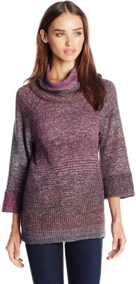 Leo & Nicole Women's Missy Cowl Neck Pullover Sweater with Bell Sleeve
