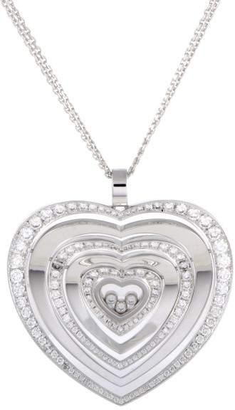 Chopard Happy Diamonds 18K White Gold Diamonds Large Heart Pendant Necklace