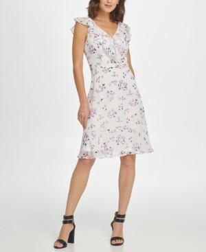 DKNY Sleeveless Fit & Flare Floral Tie Waist Dress