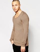 Asos Scoop Neck Sweater in Mustard Twist Cotton