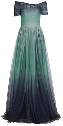Pamella Roland Ombre Tulle Off-The-Shoulder Gown