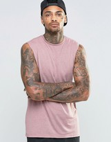 Asos Linen Mix Sleeveless T-Shirt With Dropped Armhole