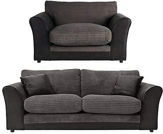 Argos Home Harley 3 Seater Sofa and Cuddle Chair - Charcoal