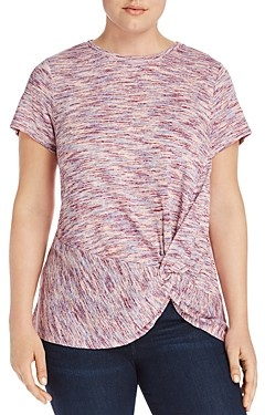 Bobeau B Collection By Curvy B Collection by Curvy Rachelle Space-Dyed Knot Top