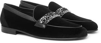 Amiri Embellished Leather-Trimmed Velvet Loafers