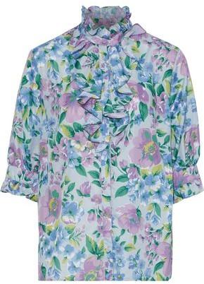 Baum und Pferdgarten Marieke Ruffled Floral-print Crepe De Chine Shirt