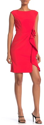 Marina Rosette Ruffled Sleeveless Sheath Dress
