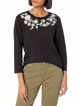 Lucky Brand Women's Long Sleeve Scoop Neck Embroidered Garland Tee