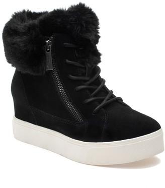 J/Slides Sarah Faux Fur Suede Sneaker Wedge Boot