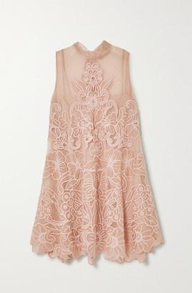 RED Valentino Aline Embroidered Point Desprit Tulle Mini Dress - Blush